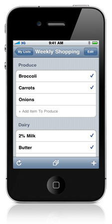 screen shot of grocery buddy  app